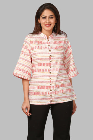 Red Zig-Zag Lines Top