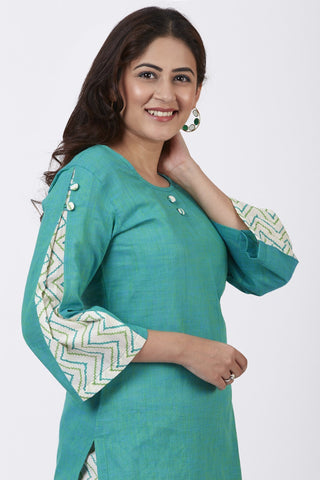 Sea Green Pleated Sleeve Kurti