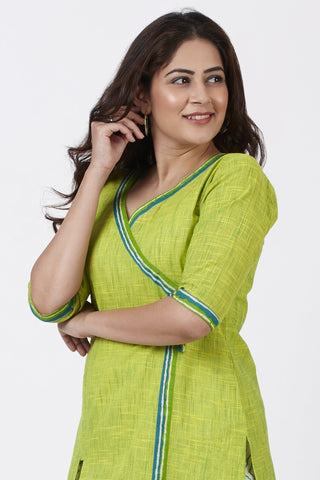 Smiling Green Asymmetrical Kurti
