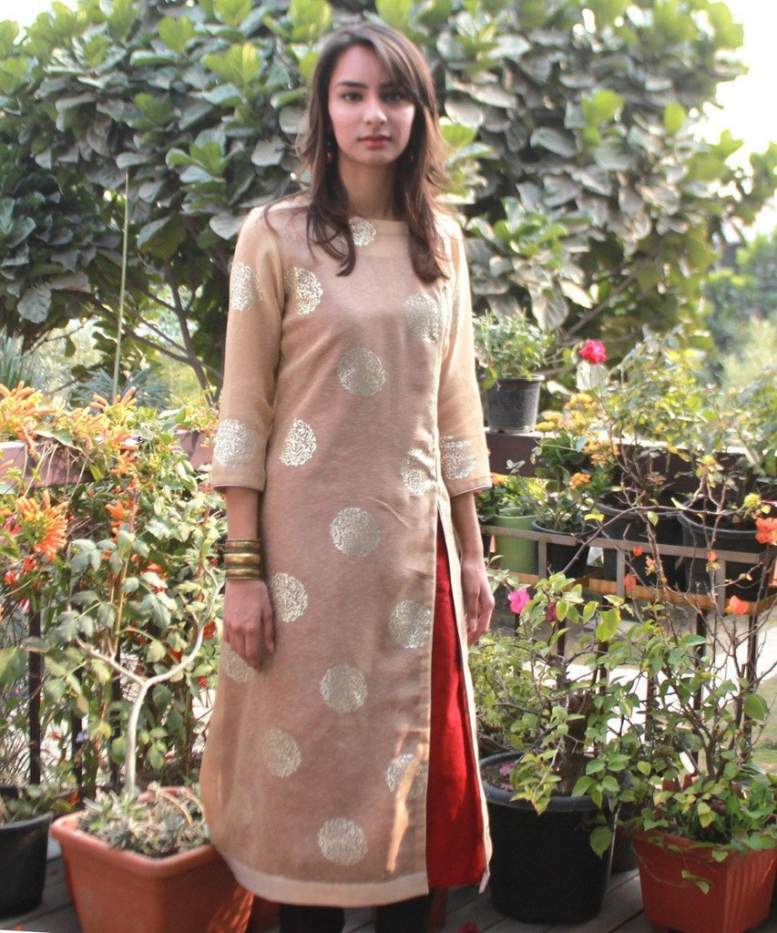 anokherang Kurtis The Classic Maroon Double Layered Kurti