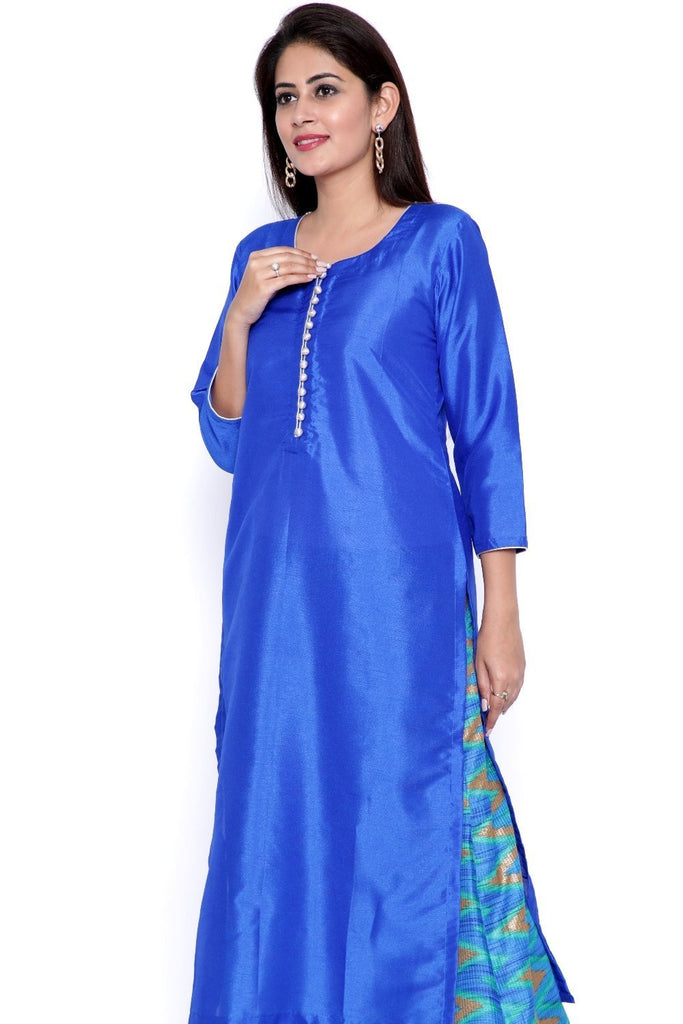 anokherang Kurtis The Flying Blues Silk Kurti