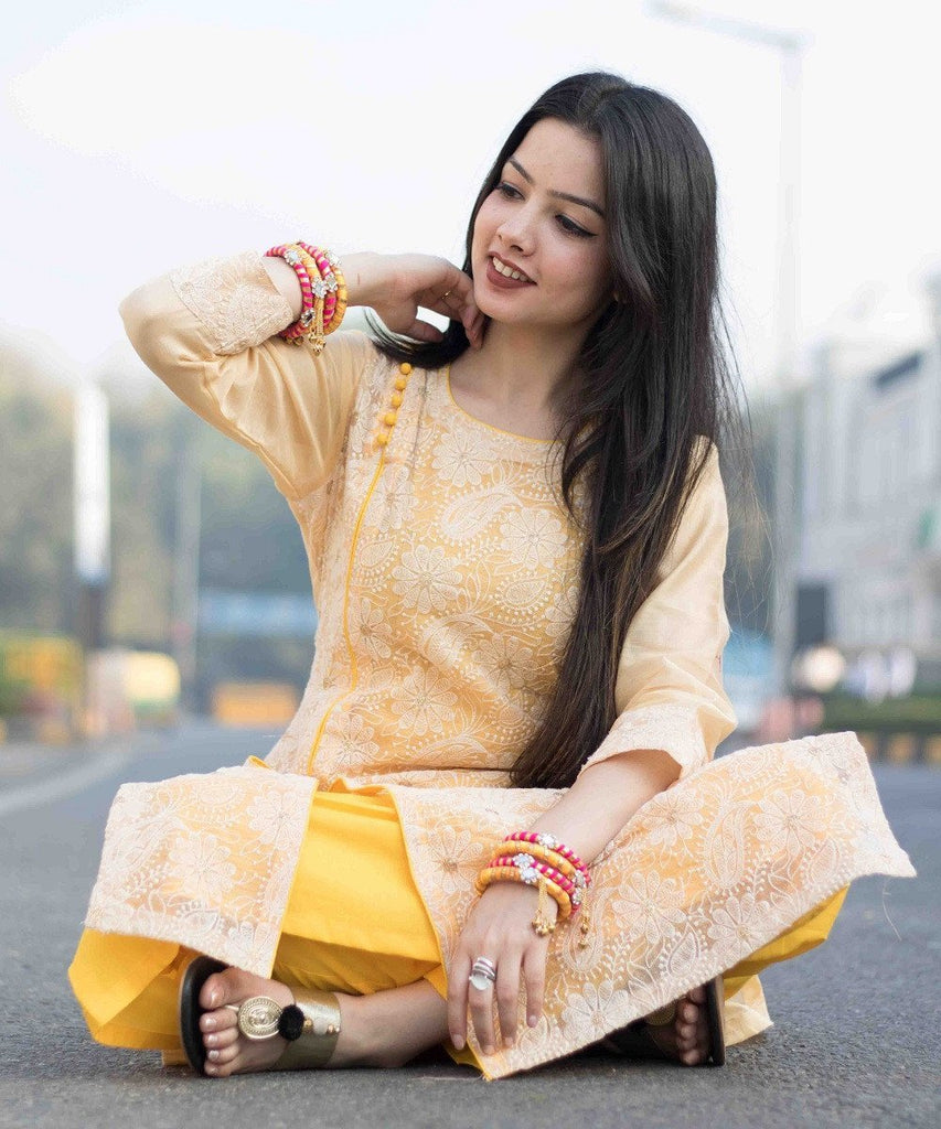 anokherang Kurtis The Mango Duet Double Layered Kurti