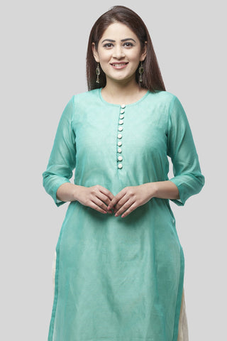 Water Blue Double Layer Chanderi Kurti