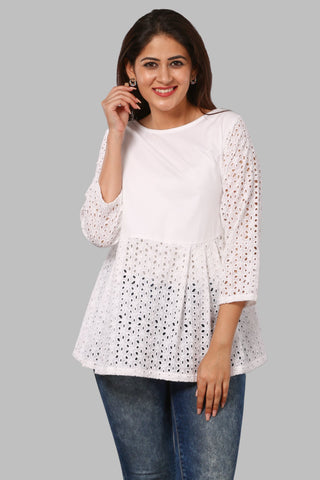 White Hakooba Pleated Top