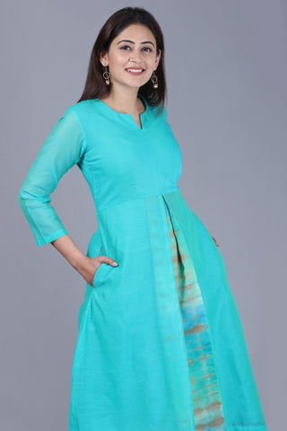 Aqua Green Front Pleat Kurti