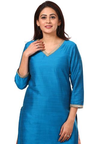 Azure Blue Silk Straight Kurti