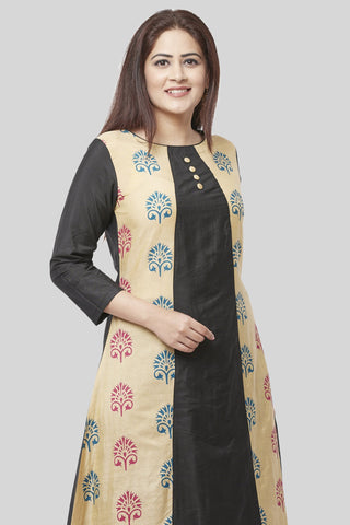Charcoal Black A-Line Paneled Kurti