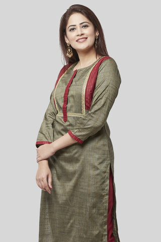 Fire Brick And Sage Green Kurti