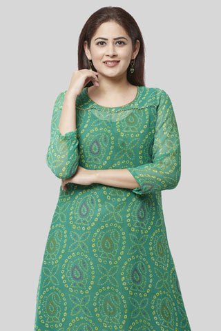 Flying Green Bandhej Gotta Kurti