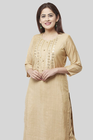 Mellow Gold Embroidered Kurti