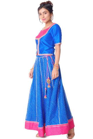 Blue and Pink Rajputana Leheriya Lehenga Choli