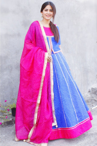 Blue and Pink Rajputana Leheriya Lehenga Choli with Kota Leheriya Dupatta