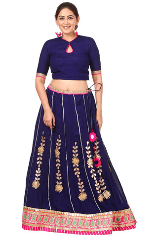 Blue Gotta Patti Lehenga with Keyhole Choli