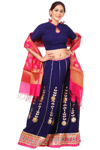 Blue Gotta Patti Lehenga with Keyhole Choli and Pink Chanderi Banarsi Dupatta