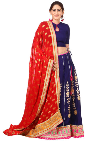 Blue Gotta Patti Lehenga with Keyhole Choli and Red Banarsi Georgette Dupatta