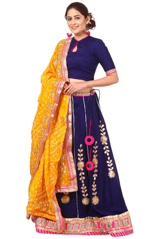 Blue Gotta Patti Lehenga with Keyhole Choli and Yellow Silk Bhandhej Gotta Dupatta