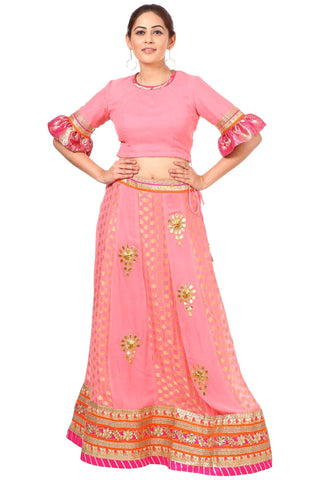 Blush Pink Gottapatti Lehenga with Ruffled Sleeves Blouse