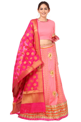Blush Pink Gottapatti Lehenga with Ruffled Sleeves Blouse and Pink Banarsi Dupatta