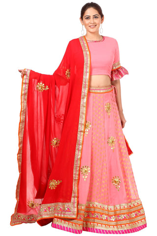 Blush Pink Gottapatti Lehenga with Ruffled Sleeves Blouse and Red Georgette Gottapatti Dupatta