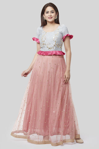 Blush Pink Gray Gotta Sequence Ruffle Up Lehenga Choli