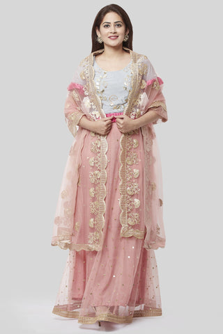 Blush Pink Gray Gotta Sequence Ruffle Up Lehenga Choli with Peach Floral Gotta Net Dupatta