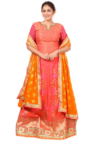 Carrot Pink Lehenga with Banarsi Blouse and Orange Georgette Dupatta