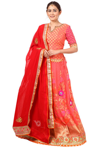 Carrot Pink Lehenga with Banarsi Blouse and Red Georgette Dupatta