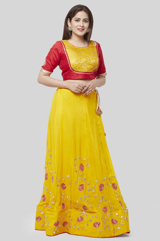 Crimson Red and Sunshine Yellow Lehenga Choli