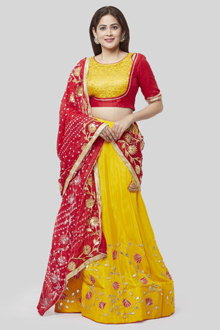 21a0f535bfbc01 Crimson Red and Sunshine Yellow Lehenga Choli with Silk Gotta Bandhej  Dupatta