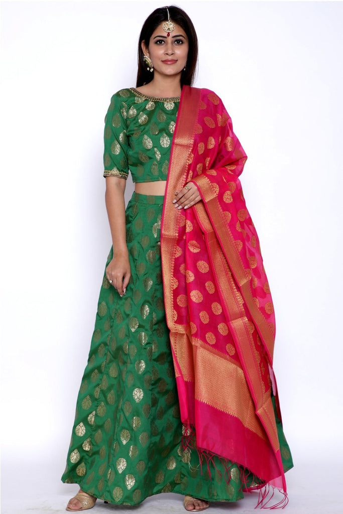 anokherang Lehenga Green Chanderi Banarsi Lehenga with Choli and Pink Banarsi Dupatta