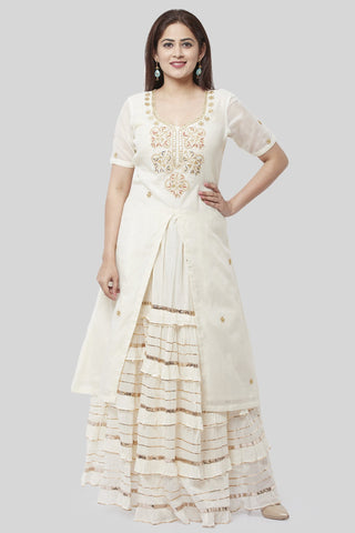 Ivory Embroidered Gotta Embroidered Kurti with Ruffled Gotta Skirt