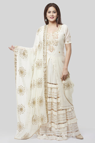 Ivory Embroidered Gotta Embroidered Kurti with Ruffled Gotta Skirt and Gotta Floral Chiffon Dupatta