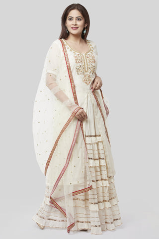 Ivory Embroidered Gotta Embroidered Kurti with Ruffled Gotta Skirt and Net Sequenced Dupatta