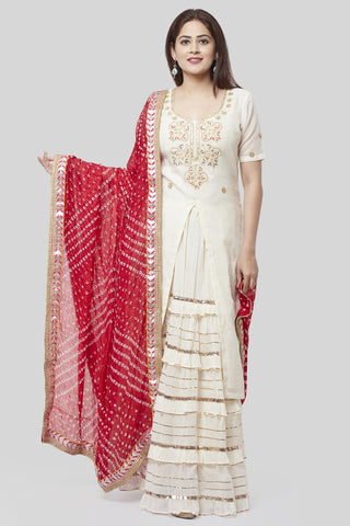 Ivory Embroidered Gotta Embroidered Kurti with Ruffled Gotta Skirt and Red Bandhani Dupatta