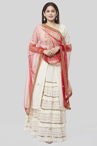 Ivory Embroidered Gotta Embroidered Kurti with Ruffled Gotta Skirt and Red Stone Mirror Dupatta
