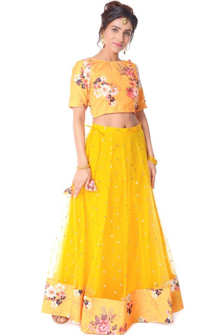 Mustard Floral Lehenga with Floral Silk Choli