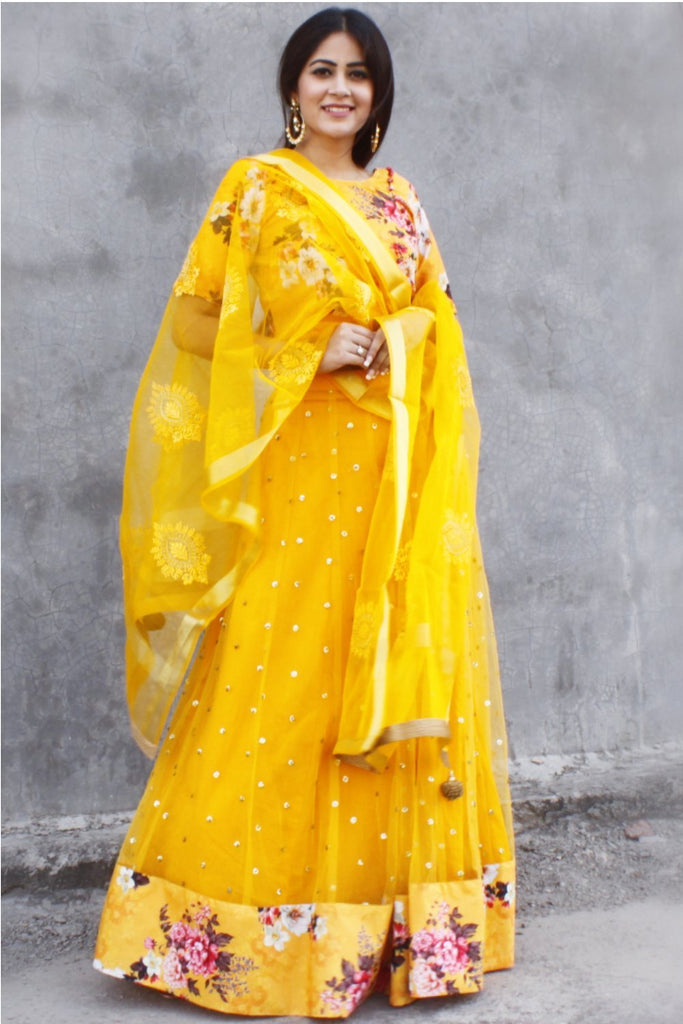 anokherang Lehenga Mustard Floral Lehenga with Floral Silk Choli and Organza Thread Embroidered Dupatta