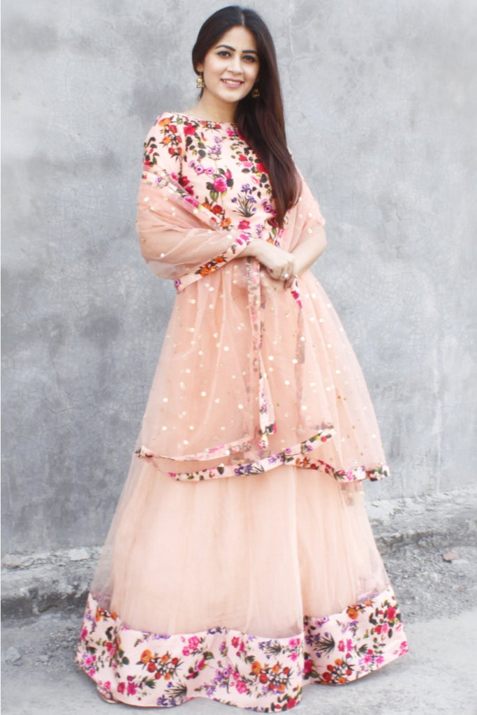 anokherang Lehenga Peach Floral Lehenga with Floral Choli and Sequenced Net Dupatta