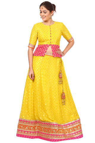 Sunshine Yellow Banarsi Lehenga Choli