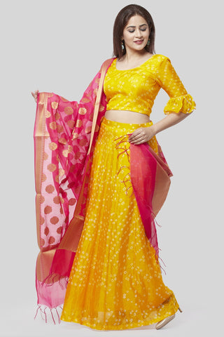 Sunshine Yellow Bandhej Ruffle Lehenga Choli with Pink Banarsi Dupatta
