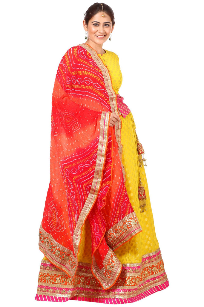 e7adab2a1bbf86 anokherang Lehenga Sunshine Yellow Lehenga Choli with Multi Colored Rai  Bandhej Dupatta