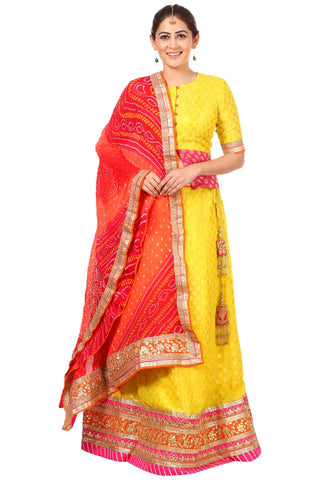 Sunshine Yellow Lehenga Choli with Multi Colored Rai Bandhej Dupatta