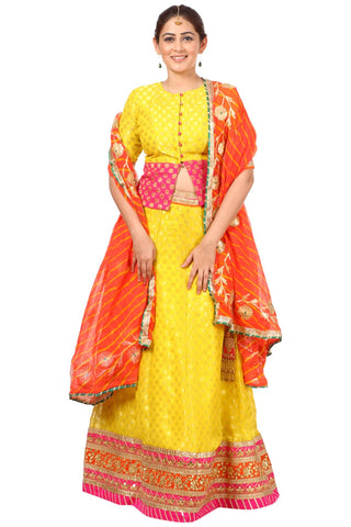 Sunshine Yellow Lehenga Choli with Peachy Orange Leheriya Dupatta