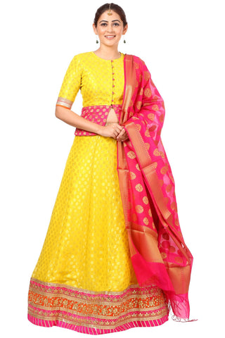 Sunshine Yellow Lehenga Choli with Pink Banarsi Dupatta