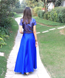 anokherang Lehenga The Blue Regal Brocade Crop Top with Silk Skirt