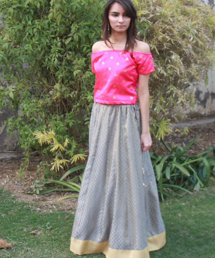 anokherang Lehenga The Gorgeous Girl Silk Crop Top with Brocade Lehenga