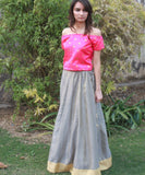 The Gorgeous Girl Silk Crop Top with Brocade Lehenga