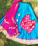The Pink Ocean Lehenga with Brocade Choli and Net Dupatta