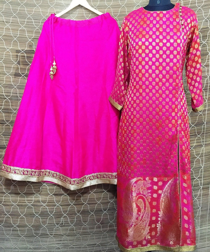 The Pink Paisley Long Kurti with Silk Lehenga