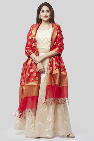 Victorian Ivory Lehenga Choli with Red Banarsi Dupatta